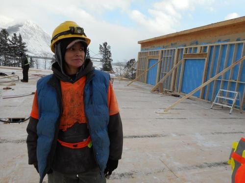 Carcross/Tagish First Nation Citizen Angie Low at work on the construction of the Learning Centre (Photo: Samantha Dawson)